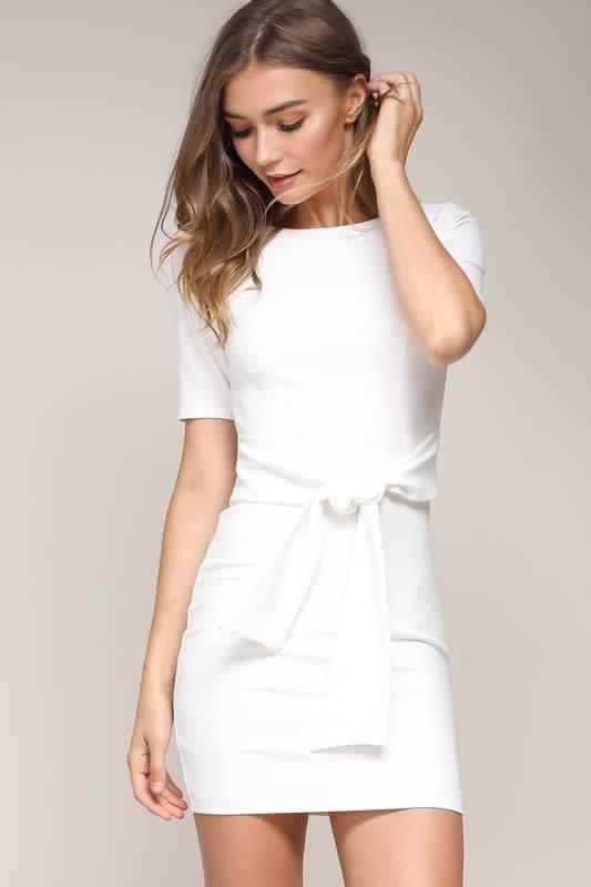 S/S Waist Tie Fitted Mini Dress