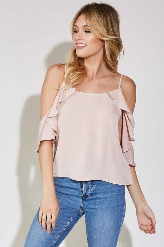 Cold Ruffle Shoulder Woven Top