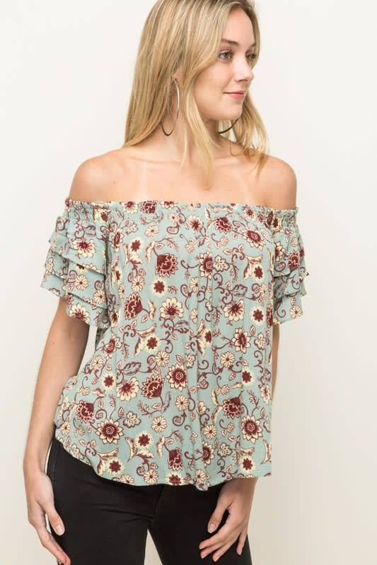 Ruffle Off Shoulder Floral Print Top