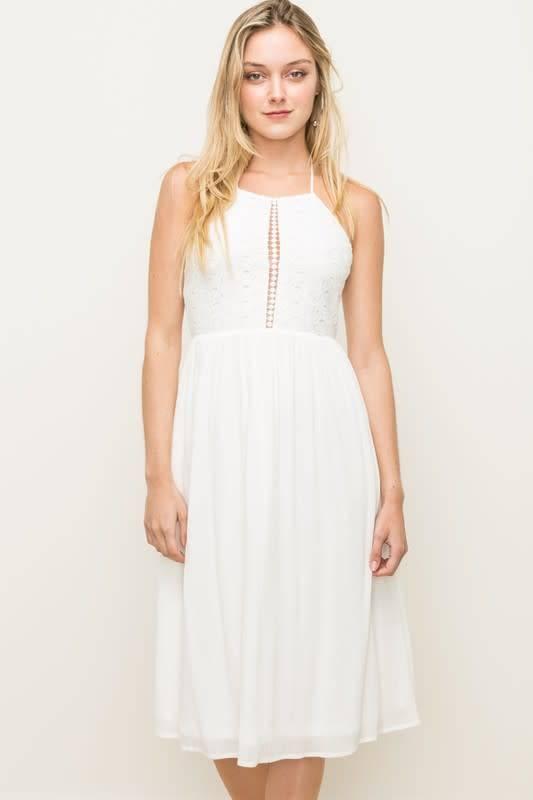 Eyelet Halter Smocked Midi Dress