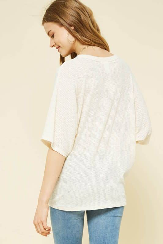 Dolman Slv Button Front Knot Top