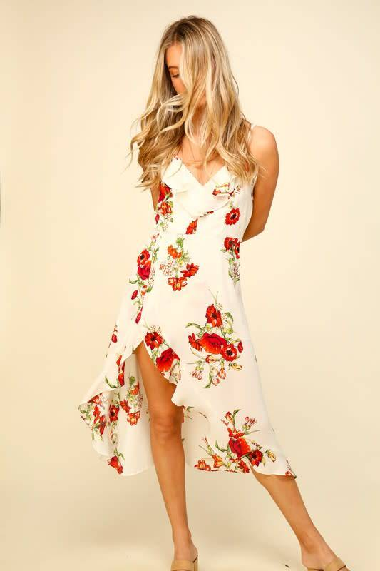 Floral Maxi Ruffle Detail Dress