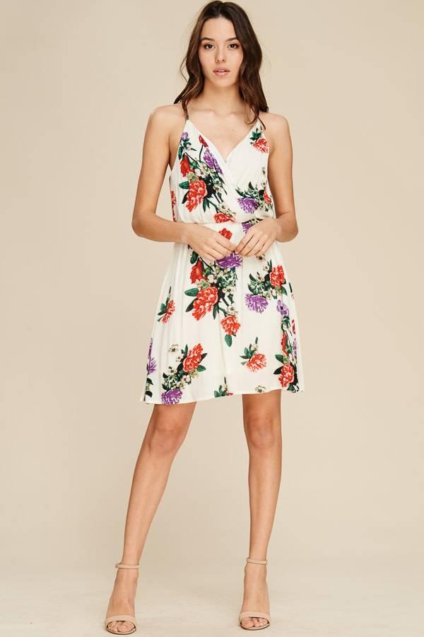 Floral Surplice Spaghetti Strap Dress