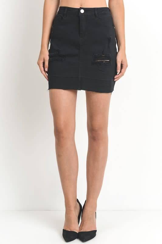 Distressed Skirt W/Shadow Hemline