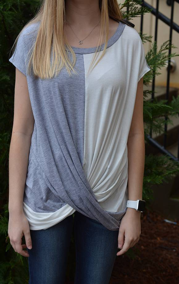 Contrast Panel Twist Front Knit Top