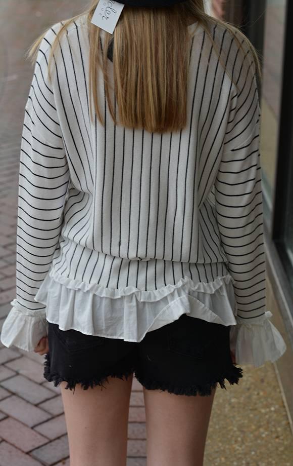 L/S Contrast Top W/Stripes
