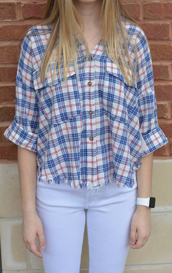 Plaid Button Down Crop Shirt