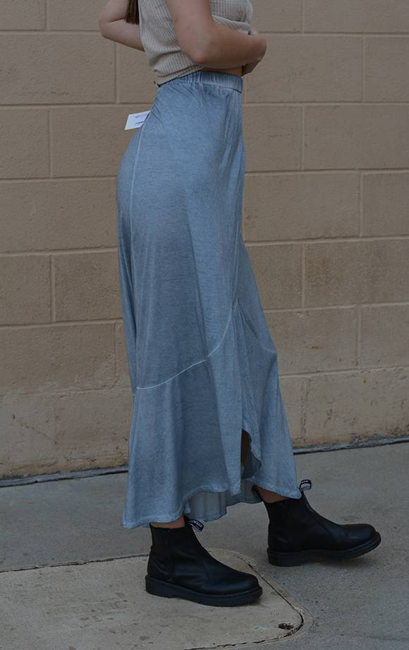 Washed Wrap Maxi Skirt