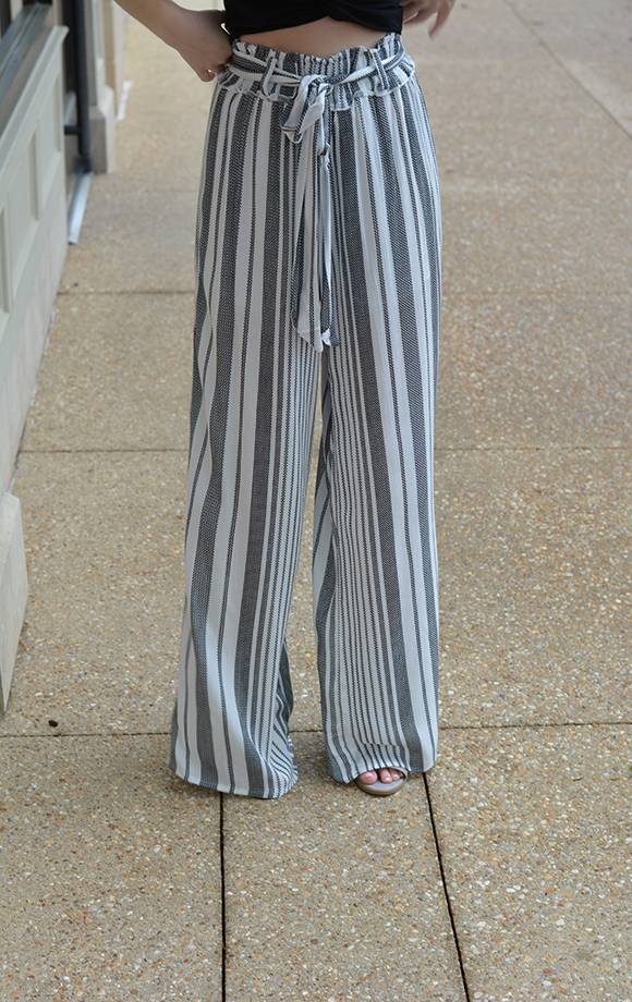 Wide Striped Belted Palazzo Pants