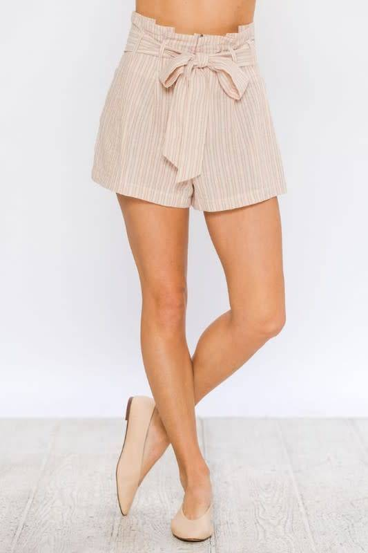 STRIPED PAPERBAG LINEN SHORTS