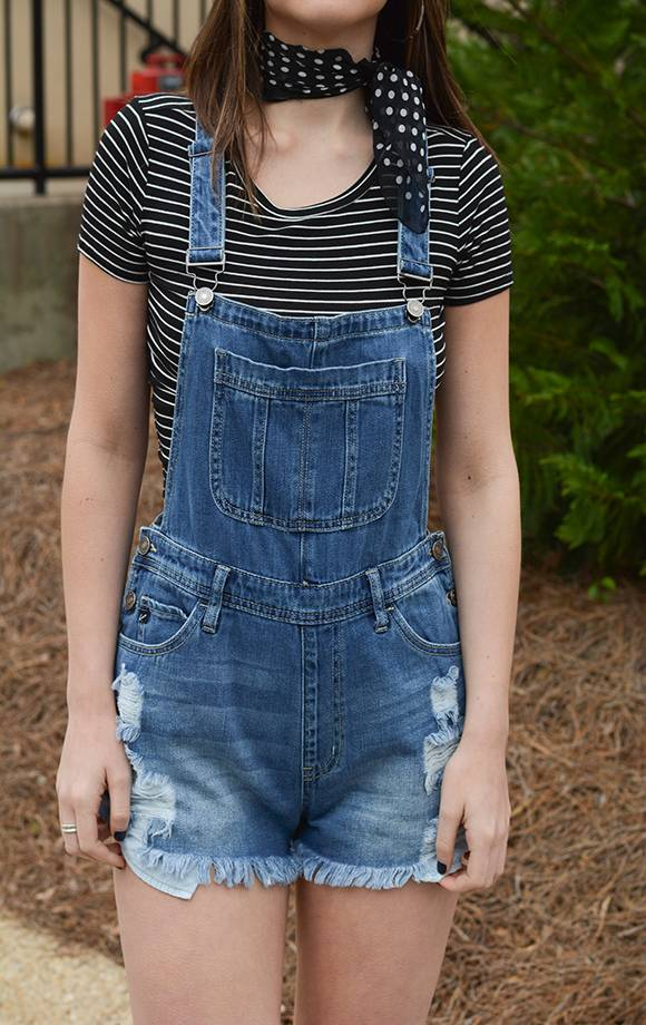 Jenna Distressed Overall Shorts
