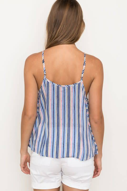 Lace Inset Stripe Halter Top