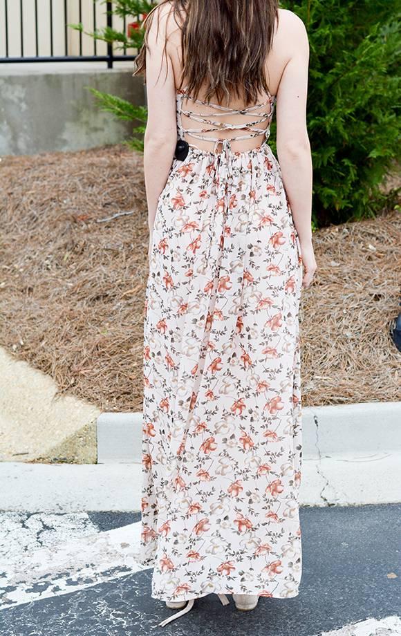 Floral Chiffon Lace Up Back Maxi Dress