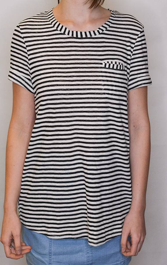 S/S Striped Knit Top