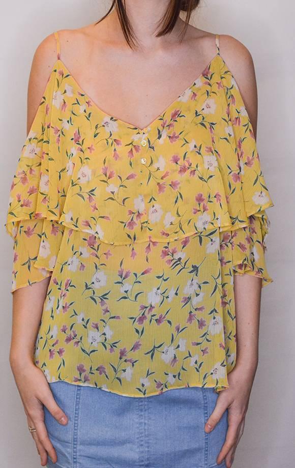 Cold Shoulder Floral Prt Top