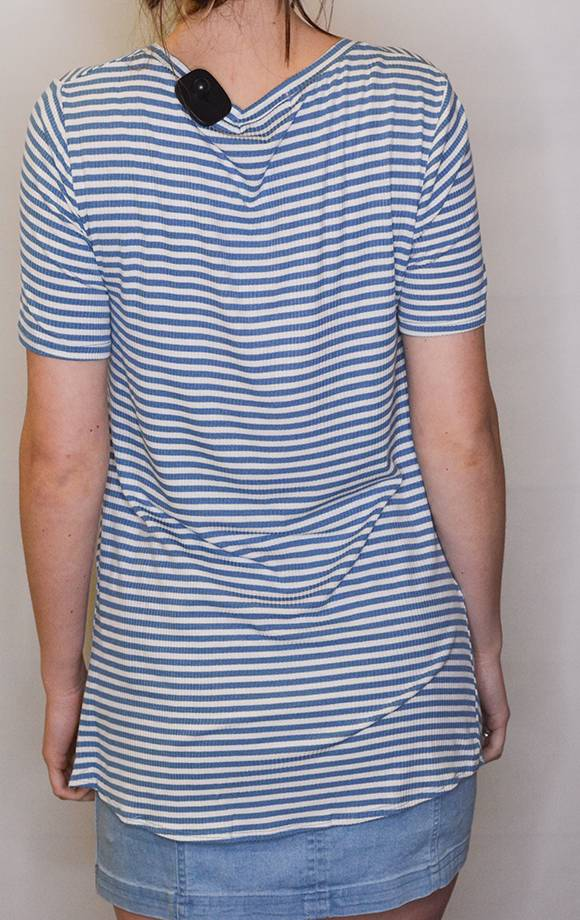 S/S Ribbed Stripe Top W/Front Knot