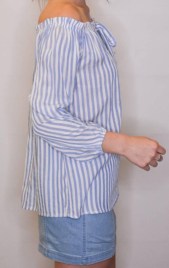 OffShoulder Keyhole Tie Front Striped Top