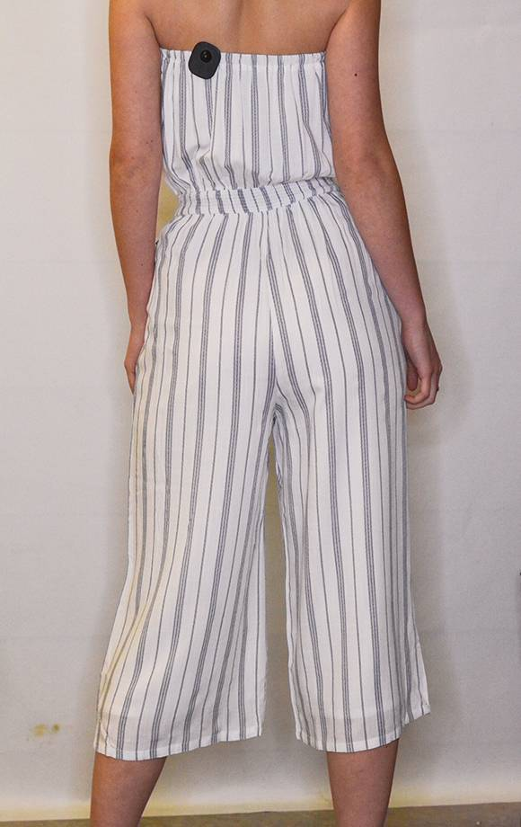 Smocked Striped Tube Jumpsuit