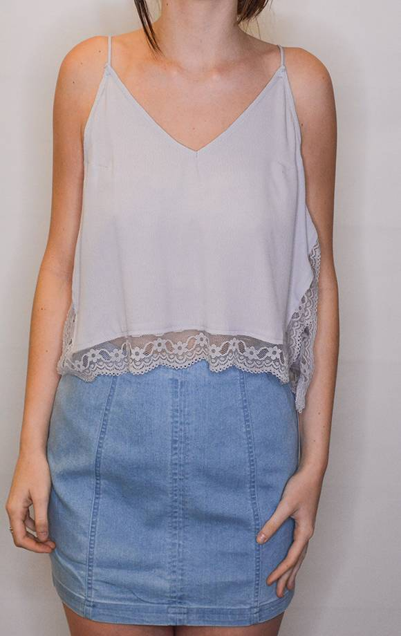 Lace Det Cropped Side Slit Tank