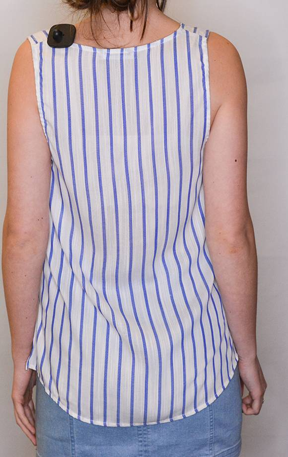 Vneck Button Down Tie Knot Striped Top