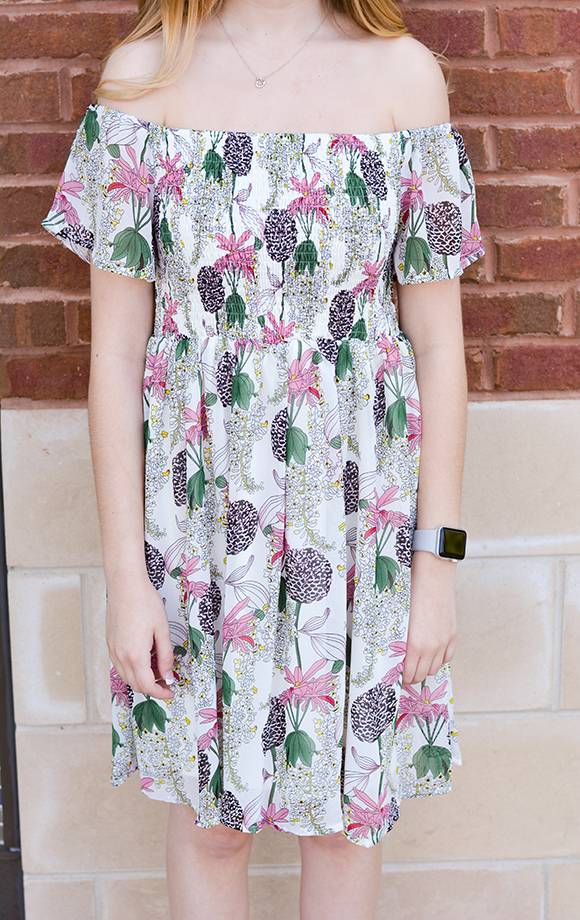 Lily Smocked Off Shoulder Floral Dress