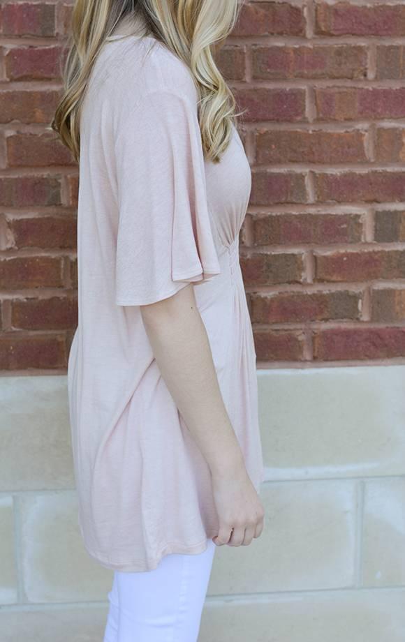 Amanda Knit Top W/Smocked Front Det