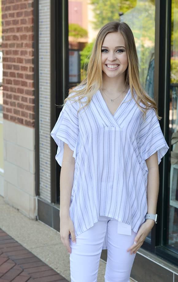 Emily Ruffle Slv Striped Vneck Blouse