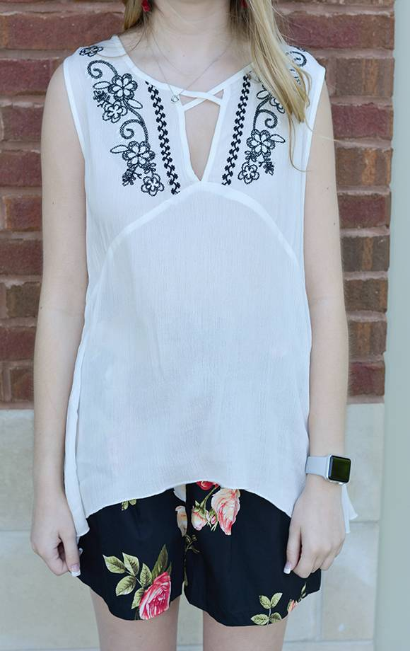 S/L Embroidered Cross Neck Top