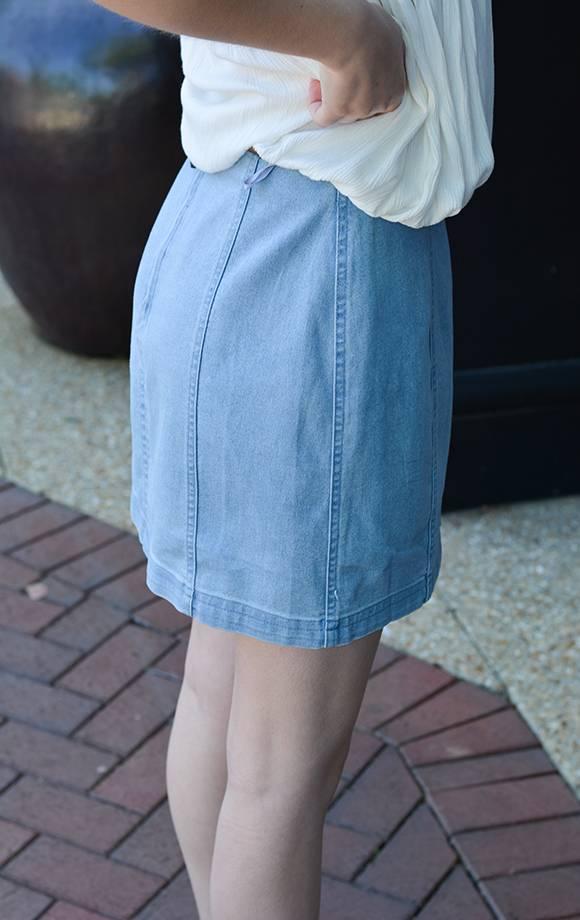 Zoey Hi Waist Skirt W/Back Zipper
