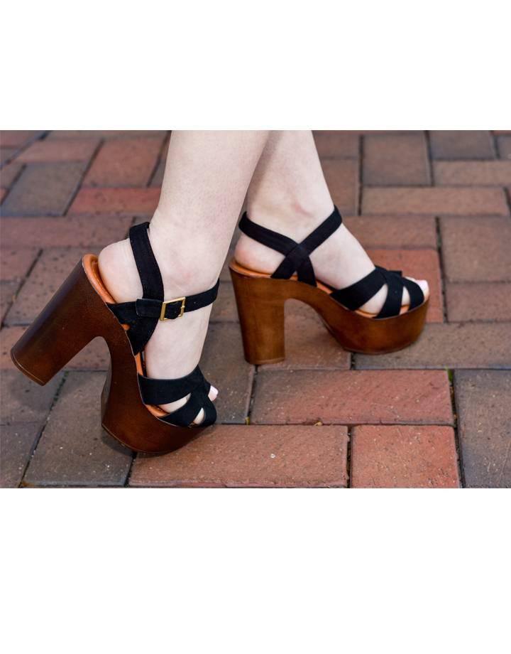 Jessica Wooden Heel Platform Sandal