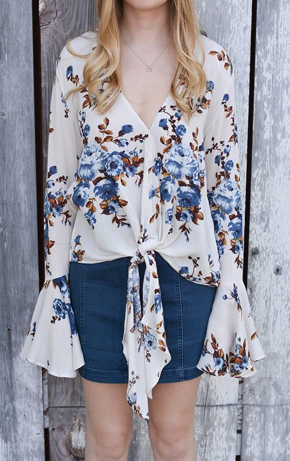 Susie Floral Prt Blouse W/Front Tie Detail