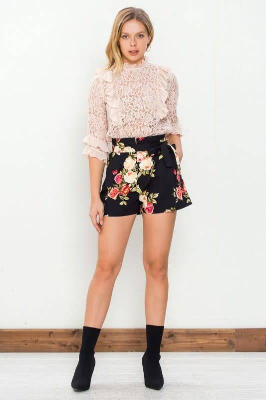Blooming Floral Paperbag Waist Shorts