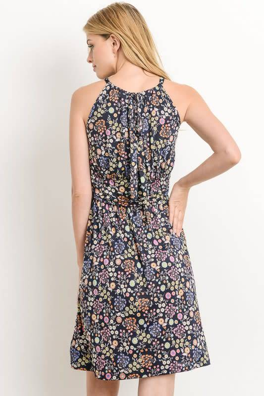Floral Halter Bodice Mini Dress