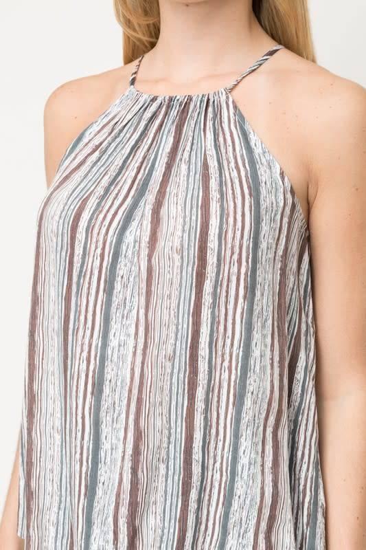 Stripe Print Halter Top