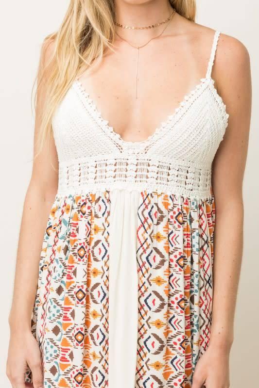 Vneck Crochet Top Prt Skirt Maxi Dress