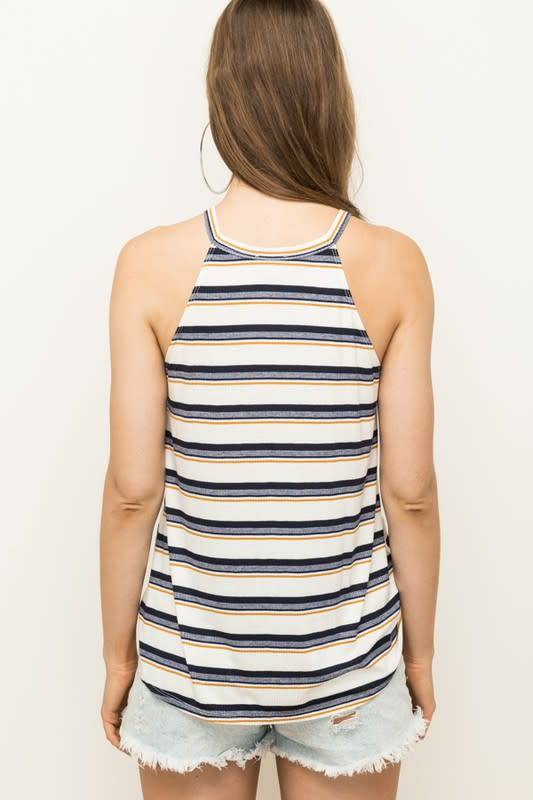Trimmed Det Stripe Halter Top