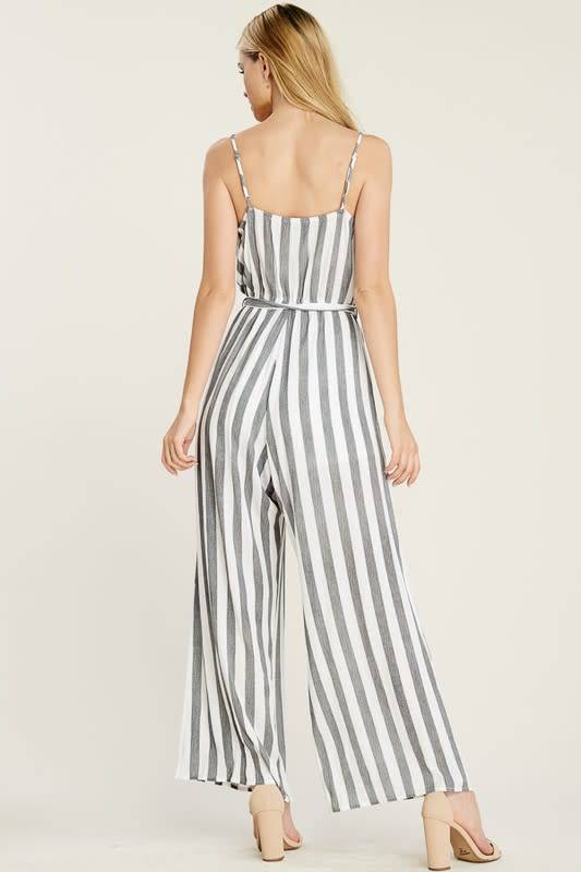 Surplice Striped Jumpsuit