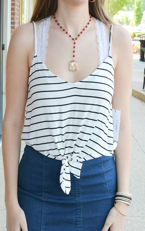 Striped Front Tie Cami Top
