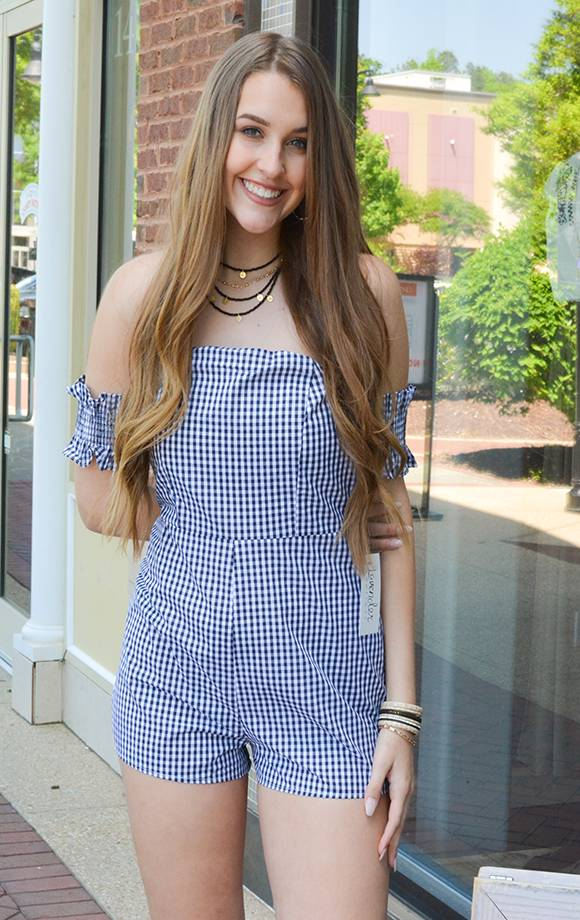 Off Shoulder Smocked Gingham Romper