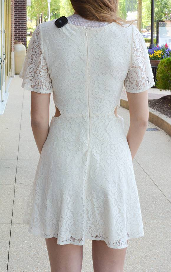 Embroidered Lace Det Dress W/Cutout