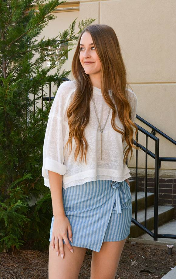 Striped Skirt W/Eyelet and Tie