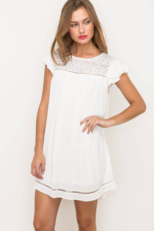 Sheer Lace Dbl Flutter Slv Aline Dress