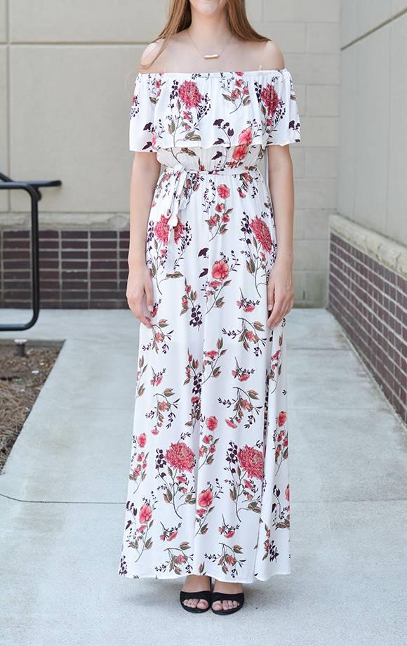 Off Shoulder Floral Ruffle Maxi Dress