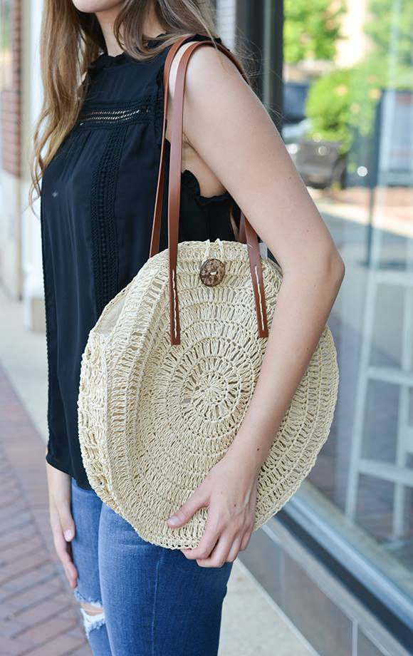 Round Wicker Bag