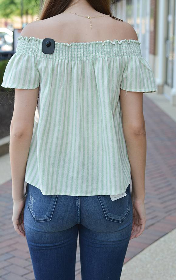 Off Shoulder Smocked Stripe Top
