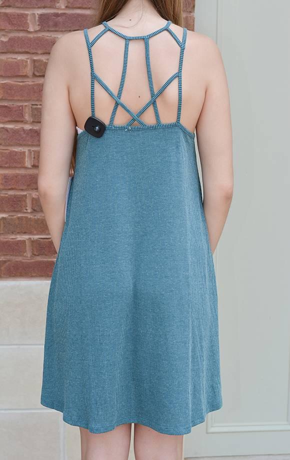 Strappy Cage Neck Rib Knit Dress