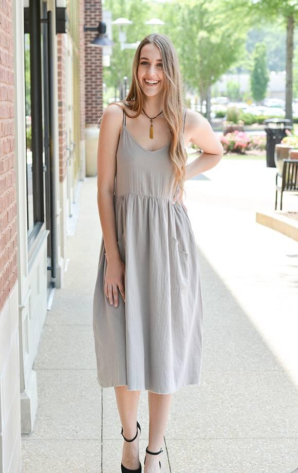 Cotton Midi Dress W/Pockets