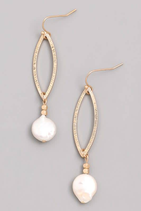 Opal Pearl Dangle Hoop Earring