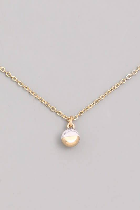 Gold Dip Stone Charm Necklace