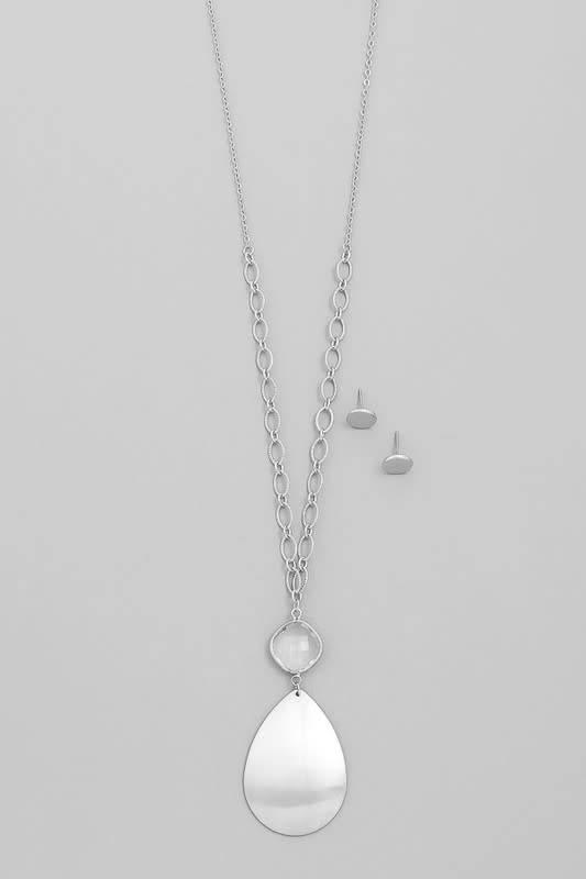 Flat Pendant Stone Det Necklace Set